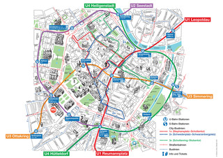 Tourist map of Vienna attractions, sightseeing, museums, sites, sights, monuments and landmarks